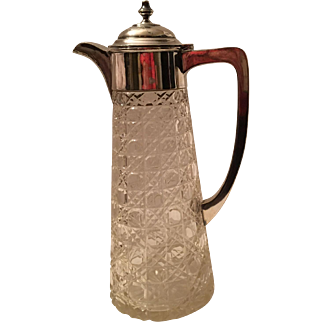 Antique sterling Silver and Queens Lace Cut Crystal Claret Jug James Deakin 1912