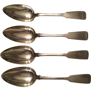 Antique Victorian Russian Silver Set 4 Fiddleback Tablespoons 8.5 Inch 279 Grams made 1870's