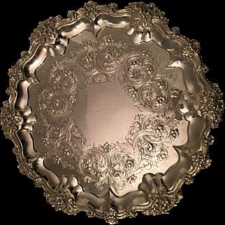 Antique Victorian Sterling Silver 13 Inch Salver Tray 920 Grams W.&J.Barnard 1878