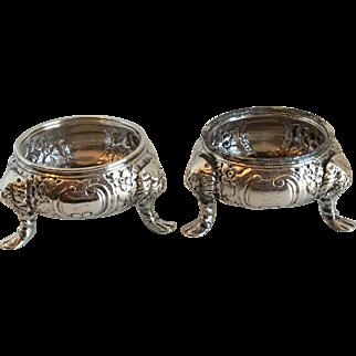 Antique Pair George III Irish Silver Salt Cellars Dublin C.1760 230 Grams