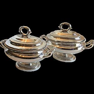 Antique Georgian Style Pair Garrard Sterling Silver Tureens made 1913 1557 Grams
