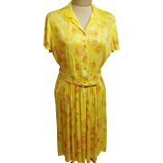 Vintage 40s Claire Tiffany Yellow Celanese Rayon Day Dress Size 14