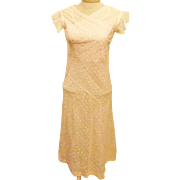 30's Handmade Pink Wedding Dress or Evening Dress  Size 4
