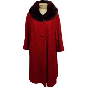 50s Red Wool Top Coat Sheared Mink Fur Trim Size XL