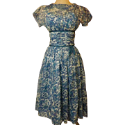 50's Blue Swing Party Dress Size 6   R & K Originals