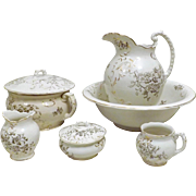 Antique 1890s Dresden Porcelain Wash Bowl Pitcher Chamber Pot Set