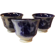 Antique Hughes Victorian Flow Blue Handless Tea Cups Shapoo Pattern