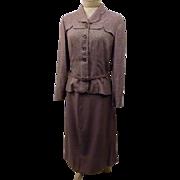Vintage 1940s  Lampl Belted Peplum 2 Piece Dress Suit Size 8 M