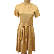Vintage 1950s Handmade Gold Lame Brocade Evening Party Dress Size 4