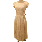60's Handmade Evening Dress in Peach Satin Lace Size 14