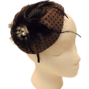 1950's Vintage  Fascinator Headband Hat Ostrich Feather