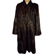40's Dark Brown Mink Fur Coat by York Fur Co. Size L