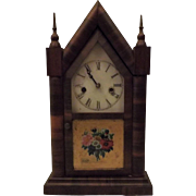 Antique 1870s Waterbury Steeple Clock w Chime Mahoghany Veneer