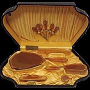30s Vintage Dresser Set XLO Amber Tone Celluloid Orig Box