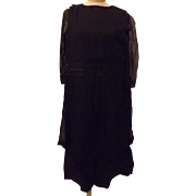 20s Black Mourning Dress Handmade Size 14