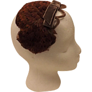 1950's Vintage Fascinator Hat Women's Pheasant Feather