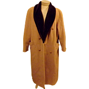60's Abbmoor Women's Top Coat Tan Faux Mink Trimmed Wool Size XL