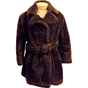 50's Brown Faux Fur Belted Pea Coat Size L by Debutogs of NY