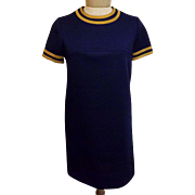 60s Jonathan Logan Blue Shift Dress with Suede Collar Size 6