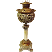 Victorian Piano Parlor Oil Lamp Bradley Hubbard with Marble Base
