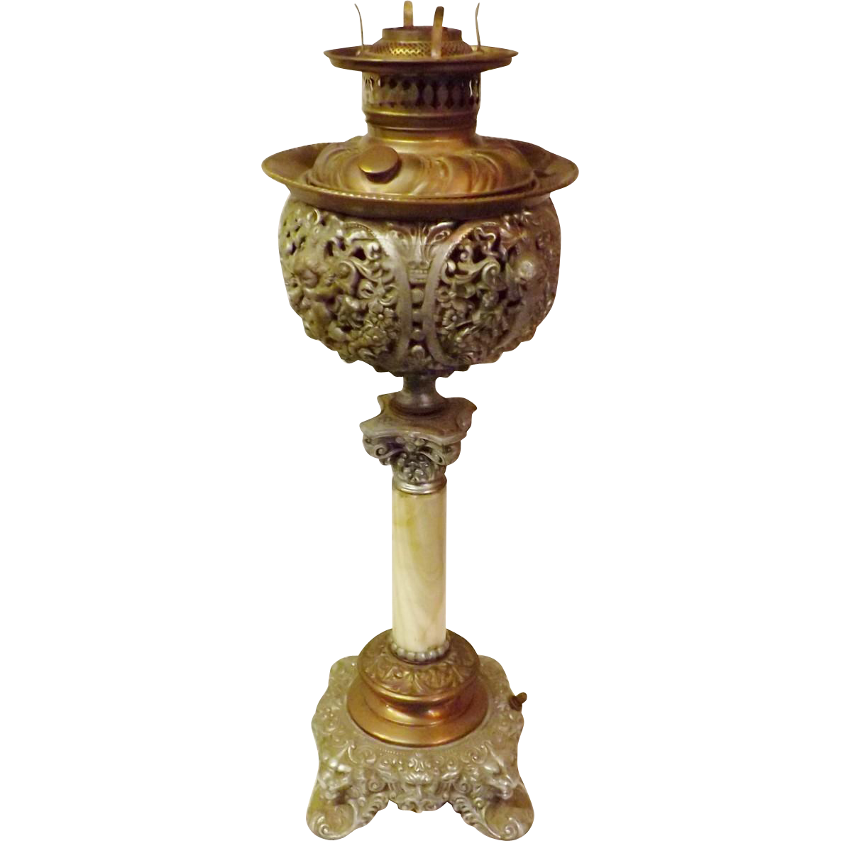 Victorian Piano Parlor Oil Lamp Bradley Hubbard with Marble Base ...