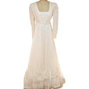 Vintage 1970's Wedding Dress with Lace and White Embroidered Mesh