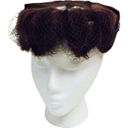 50s Mink Fur and Satin Fascinator Hat with Mesh Size 6 7/8