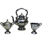 Vintage Etched Chrome Silver Tea Pot Set Creamer and Sugar