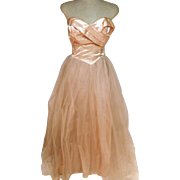 60s Pink Wedding Dress in Satin Sleeveless with Tulle Mesh  Size 2 / 4