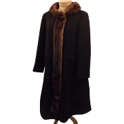 60s Mink Fur Trimmed Black Wool Top Coat by Forstmann Frizelda