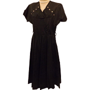 50s Black Satin Evening Dress Cocktail Dress Size 12 / 14