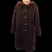 Vintage 1950's Fashionbilt Mink Fur Brown Wool Women's Top Coat
