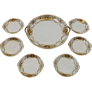 Antique 1910's Nippon China Gold Leaf Beaded Hand Painted Snack Set