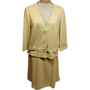 60's Butte Knit Dress Suit Yellow Wool Size 16