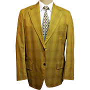 1970's Sir Walter University Men's Sport Coat Green Cotton Size 38