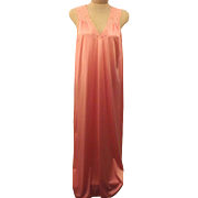70s Vanity Fair Nightgown Full Length  Pink Sleeveless Size S