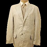 60's Seersucker Men's Cotton Sport Coat Size 38 R by Sir Walter