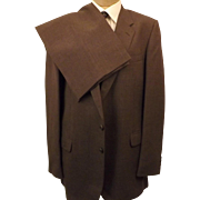 70's Men's Suit by St. Michael  Brown Wool Blend Size 44L