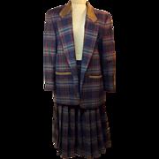 70's Pendleton Tartan Blue Plaid 3 Piece Dress Suit Size 14