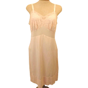 70's Tricot Nylon Women's Pink Full Slip Size 38