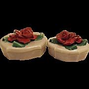 40's Johannes Brahm Gray Ceramic Rose Petal Dresser Boxes