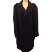 80's C & A Men's Wool Top Coat or Overcoat Dark Blue Size 48