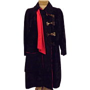 60's Dan Millstein De Milo Bombay Black Faux Lamb Fur Coat Size 12