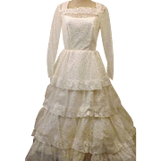 70's Wedding Gown with Layered Lace Size 10