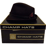 50's Champs Fedora Wool Brown Felt Hat  Size 7 1/4