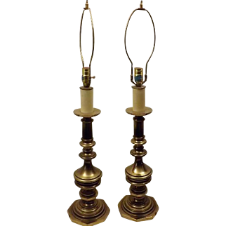 Vintage Westwood Industries Solid Brass Candlestick Large Table Lamps