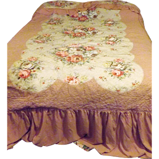 40's Celanese Rayon Pink Bedspread Quilt Full or Queen Size