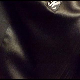 60s Women's Black Top Coat Mink Fur Trimmed Collar  Size XL