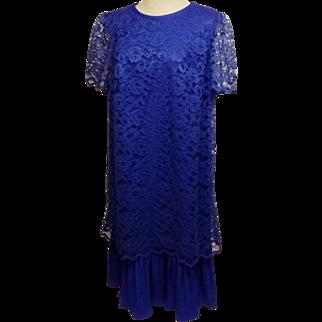 Vintage Mario Gilberti Italian Blue Lace Evening Dress Size 20