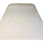 60s Chenille White Cotton Blanket or Bedspread Full Size